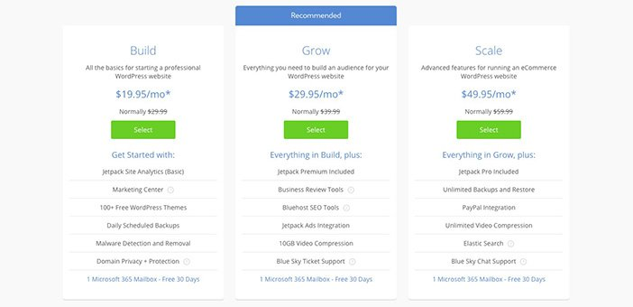BlueHost Hosting Pricing Plans