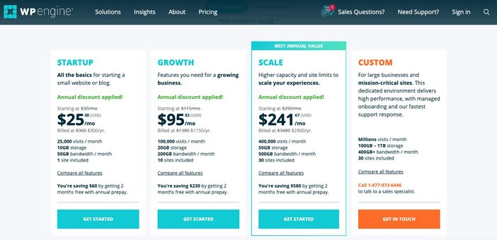 WP Engine Hosting Pricing Plans